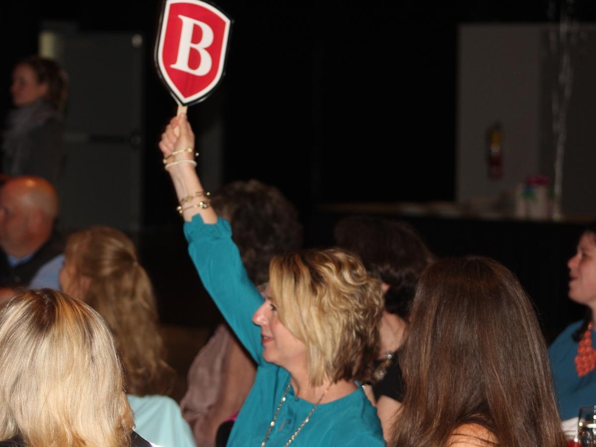 bidder holding up B shield paddle at auction