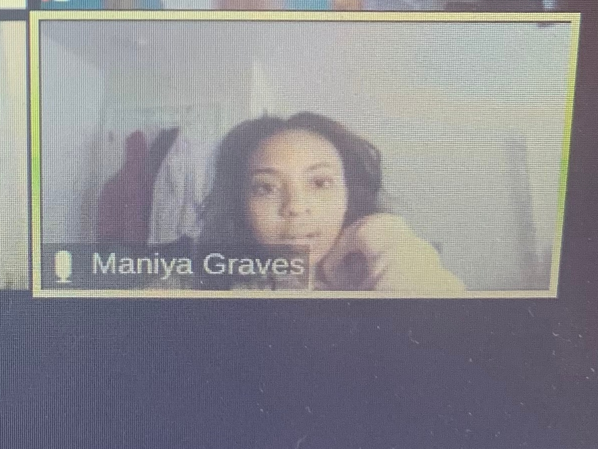 Maniya Graves participates in the virtual conference