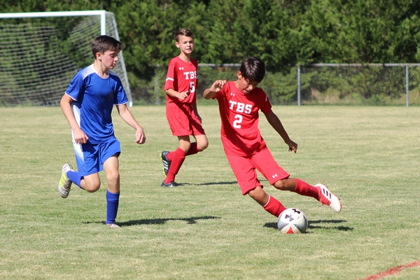 Middle School boys soccer action