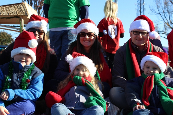Students and parents in the Burlington Christmas parade