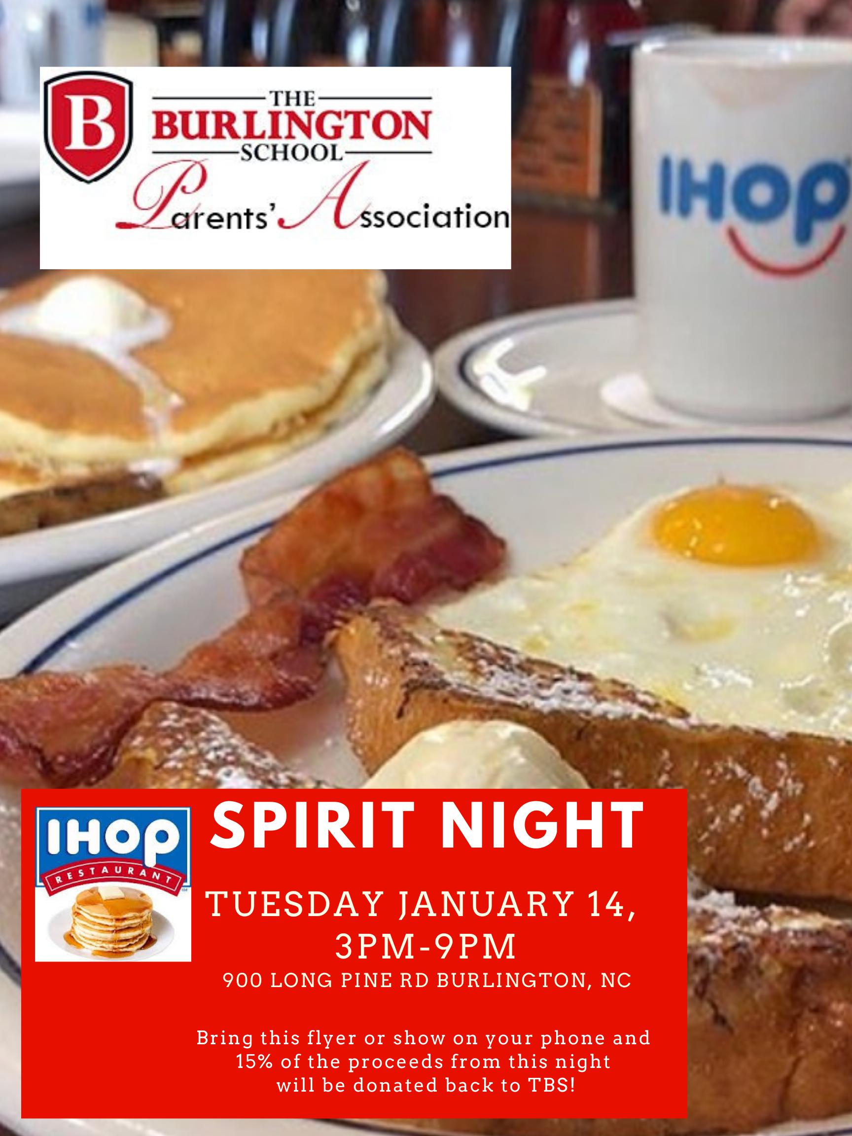 IHOP spirit night flyer